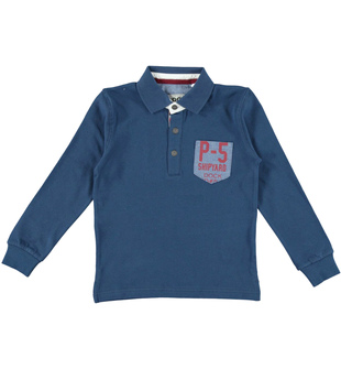 Polo bambino a manica lunga in piquet di cotone stretch ido NAVY-3657