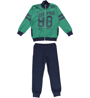 Tuta due pezzi in jersey 100% cotone con felpa con collo lupetto ido VERDE-BLU - 8014