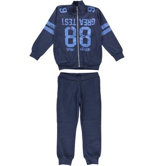 Tuta due pezzi in jersey 100% cotone con felpa con collo lupetto ido BLU-BLU - 8028
