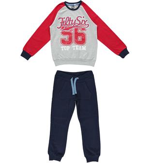 Tuta bambini spezzata in jersey pesante di cotone ido GRIGIO-BLU - 8225