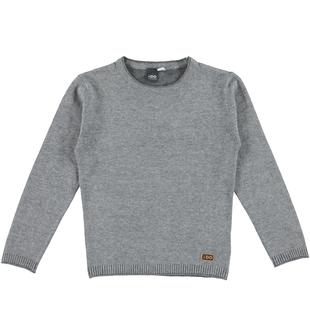 Maglia bambino in tricot misto cotone e lana ido GRIGIO-GRIGIO - 8021