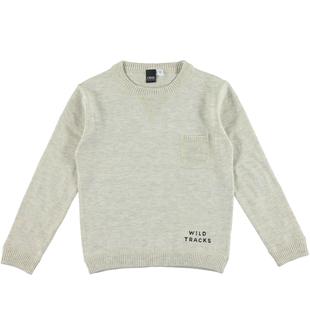 Maglia bambino misto cotone e lana con toppe sui gomiti ido ECRU MELANGE  -8989