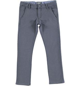 Pantalone bambino slim fit in felpa stretch fantasia jacquard ido GRIGIO-BLU - 6P45