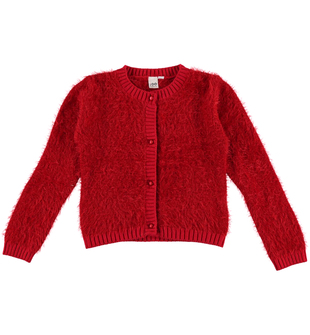 Cardigan bambina in speciale tricot lurex effetto pelliccia ido ROSSO - 2253