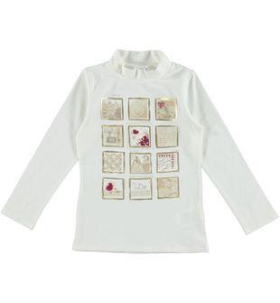 Lupetto per bambina in cotone con stampa dettagli laminati ido PANNA - 0112