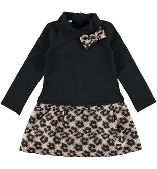 Vestito per bambina a manica lunga in felpa stretch garzata ido NERO-0658