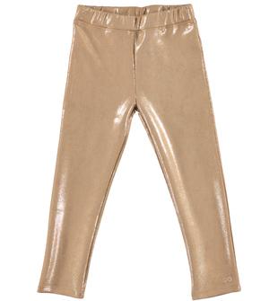 Leggings bambina in finta pelle scamosciata effetto lucido ido BEIGE-ORO - 8319