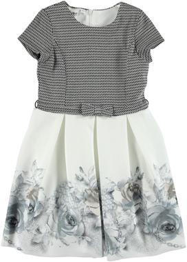 Elegante abito con gonna a fiori ido NERO-PANNA - 8349