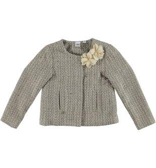 Giacchina corta per bambina in panno misto lana ido BEIGE - 0924