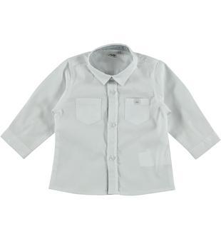 Camicia manica lunga 100% cotone ido BIANCO-BLU-8020