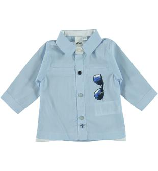 Camicia a manica lunga con stampa ido BLU-3632
