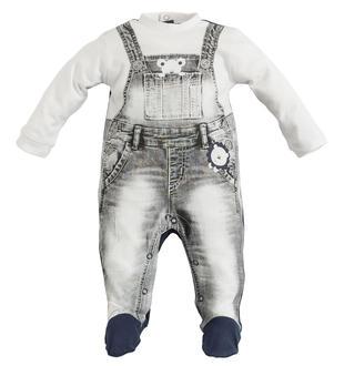 Tutina intera con salopette di jeans ido BIANCO-BLU-8020