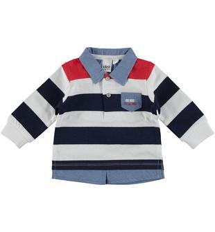 Polo in cotone a manica lunga effetto finta camicia ido BIANCO-BLU-8020