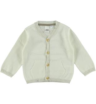 Cardigan bicolore 100% cotone ido PANNA-0112