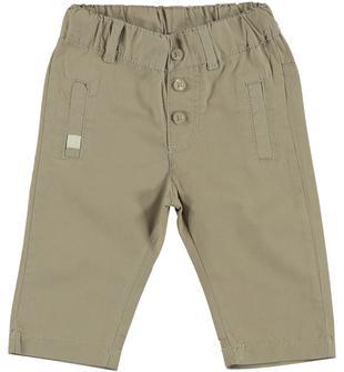 Pantalone lungo 100% cotone tinta unita ido DARK BEIGE-0475