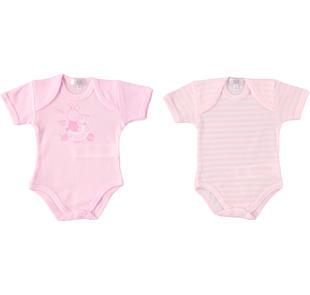 Set di due body per neonata 100% cotone ido ROSA-ROSA-8055