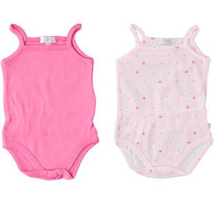 Set di due body neonata 100% cotone con spalline sottili ido ROSA-FUXIA-8072