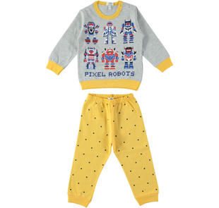 Pigiama bambino in jersey 100% cotone ido GIALLO-1343