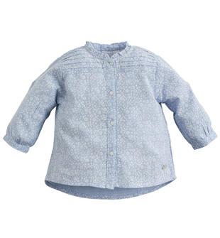 Camicia 100% cotone con tessutto effetto quadrettato ido CELESTE-3613