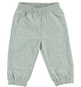 Pantalone in felpa leggera con ricamo a musino di orsetto ido GRIGIO MELANGE-8991