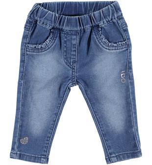 Pantalone denim con graziose rouches sulle tasche ido STONE WASHED CHIARO-7400