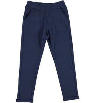 Pantalone lungo in morbido cotone elasticizzato ido NAVY-3854