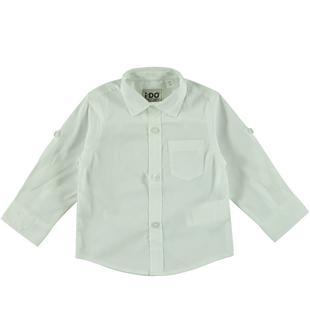 Camicia in cotone con manica con laccetto interno ido BIANCO-0113