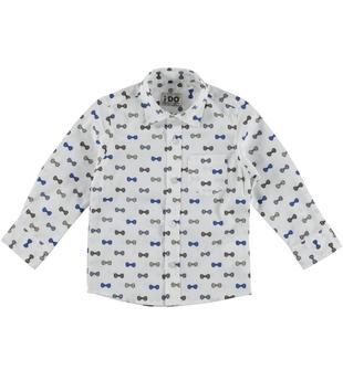 Camicia a manica lunga in cotone elasticizzato ido BEIGE-BLU-6S58