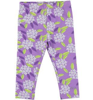 Leggings lungo con stampa di fiorellini e foglie ido LILLA-BIANCO-6W91