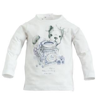 Dolcissima maglietta a manica lunga con cagnolino ido BIANCO-0113