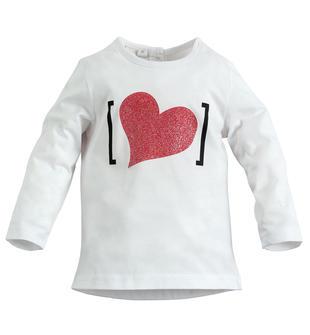 Maglietta 100% cotone con cuore glitterato ido BIANCO-0113
