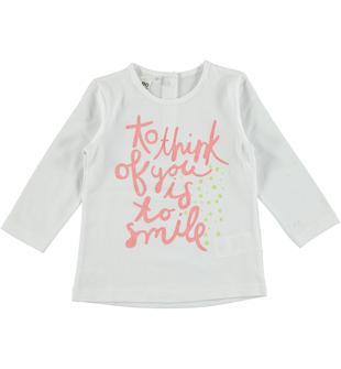 Maglietta 100% cotone con scritta glitter serigrafata ido BIANCO-0113