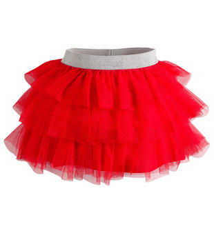 Gonna in tulle con balze ido ROSSO-2243