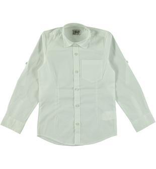 Camicia a manica lunga misto cotone ido BIANCO-0113