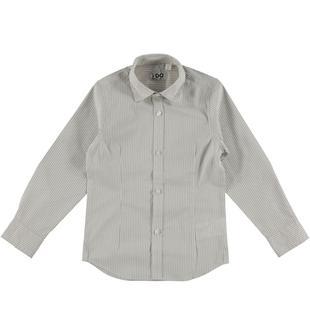 Camicia a manica lunga in cotone ido BIANCO-BEIGE-6S46