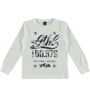 Maglietta a manica lunga con stampa grintosa ido BIANCO-0113