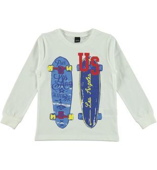 Maglietta 100% cotone con serigrafia skateboard ido BIANCO-0113