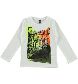 Maglietta girocollo 100% cotone con stampa Hollywood ido BIANCO-0113