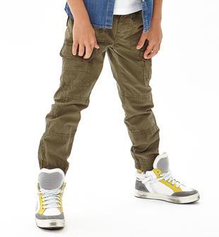 Pantalone lungo modello cargo 100% cotone ido VERDE MILITARE-5553