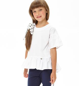 Camicia in cotone con maniche e fondo arricciati ido BIANCO-0113