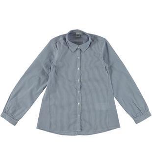 Camicia a manica lunga a quadretti tinto filo pied de poule ido NAVY-3854