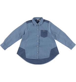 Maxi camicia a manica lunga in denim leggero 100% cotone ido BLU CHIARO LAVATO-7310