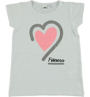 T-shirt a manica corta con cuore stampato ido BIANCO-0113