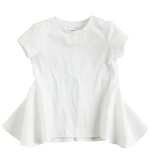 Maxi t-shirt in cotone con inserti in popeline stretch ido BIANCO-0113