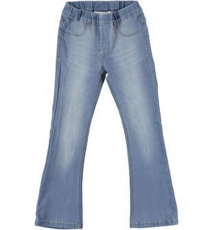 Pantalone in denim modello a zampa di elefante ido BLU CHIARO LAVATO-7310