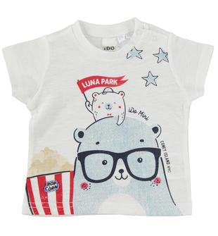 T-shirt 100% cotone cotone a manica corta ido BIANCO-0113