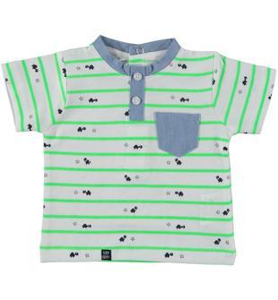 T-shirt a righe a manica corta 100% cotone ido BIANCO-VERDE FLUO-6T88