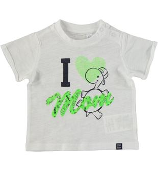 T-shirt in cotone con stampa ido BIANCO-VERDE FLUO-8364