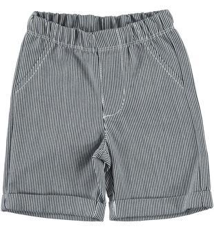 Pantalone corto in tessuto microriga 100% cotone ido NAVY-3856