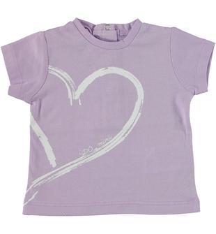 T-shirt 100% cotone con maxi cuore ido LILLA-3412